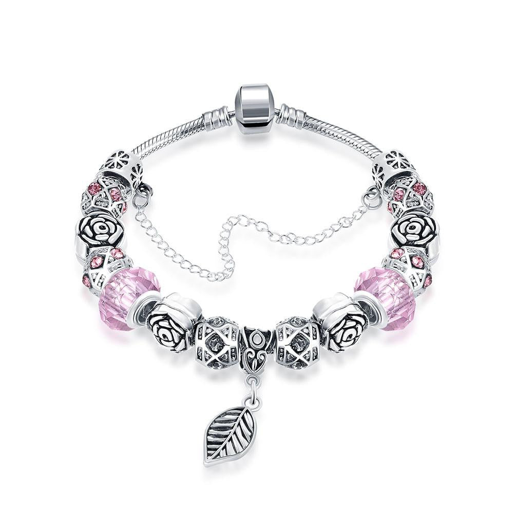 Petite Bubble Gum Pink Leaf Branch Pandora Inspired Bracelet Made with Swarovski Elements