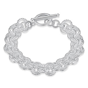 Linked Circles Bracelet in 18K White Gold Plated