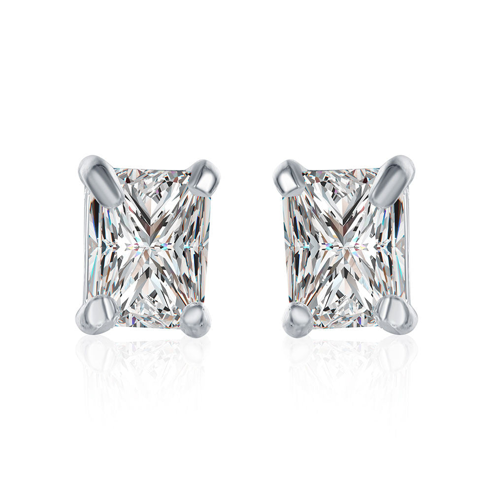 Swarovski Crystal Stud Rectangle diamond cut Earring in White Gold Plated$$Buy one get the same one FREE$$