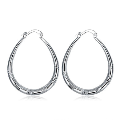 Diamond Cut French Lock Hoop Earring in White Gold Plated