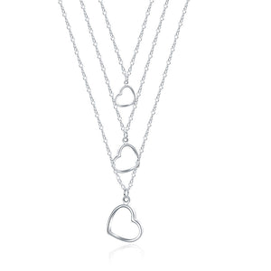 Triple Heart Drop Necklace in 18K White Gold Plated