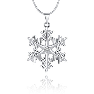 Snowflake Necklace in 18K White Gold Plated