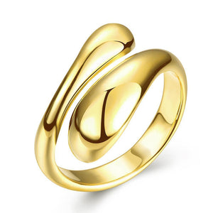 Gold Plated Adjustable Matrix Cut Ring