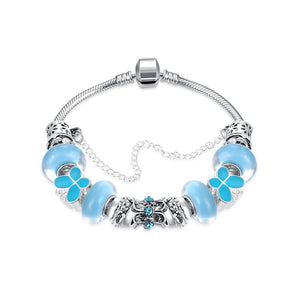 Sky Blue Petite Butterfly Pandora Inspired Bracelet Made with Swarovski Elements
