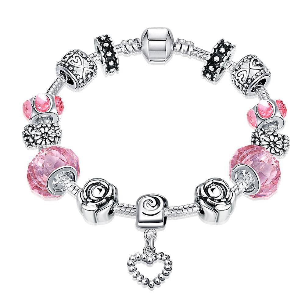 Rose Quartz Pandora Inspired Bracelet Made with Swarovski Elements