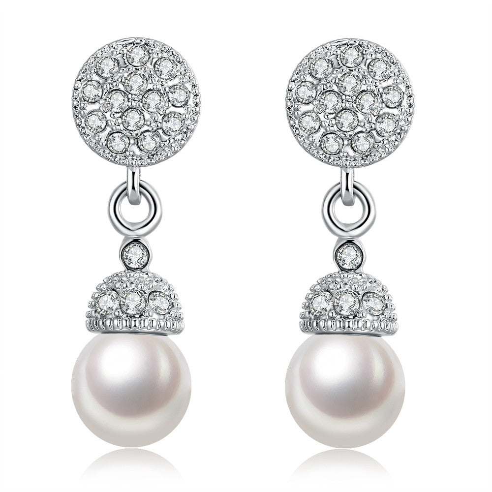 18K White Gold Plated Pearl Drop Earrings