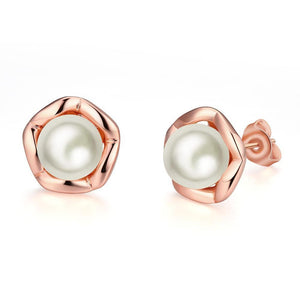 18K Rose GP Geometric Fresh Water Pearl Earring