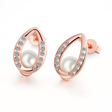 18K Rose Gold Plated Pear Studded Pearl