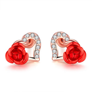 18K Rose Gold Plated Heart Flower Stud Earrings
