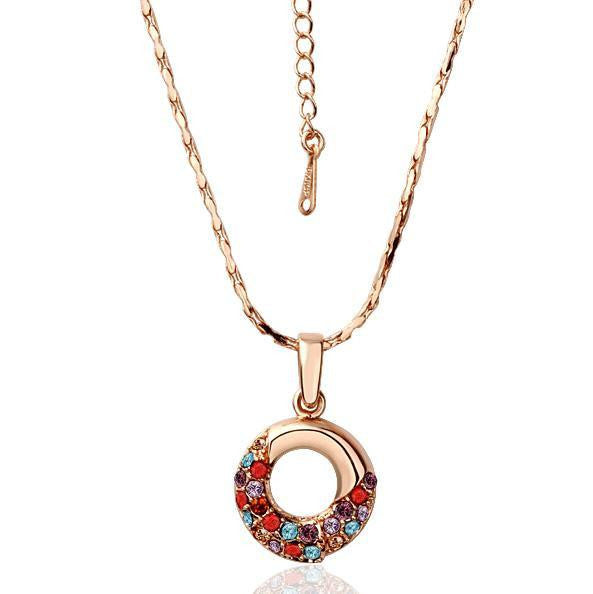 Rose Gold Plated Oval Shaped Rainbow Jewels Covering Necklace