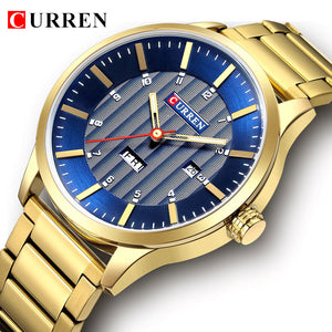 Luxury Royal Blue Gold Men Business Quartz Watches Curren Fashion Military Stainless Steel Waterproof Sport Wrish Watch Clock