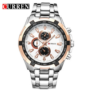 CURREN Stainless Steel Quartz Automatic Casual Sports Watch