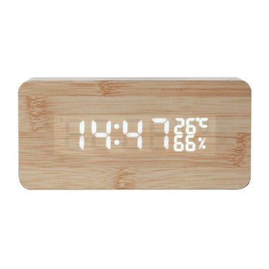 Digital LED Wood Wooden Desk Clock Alarm Snooze Voice Control Timer Thermometer
