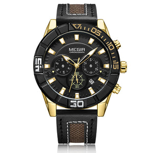 MEGIR Automatic Leather Strap Men's Watch w/ Stopwatch