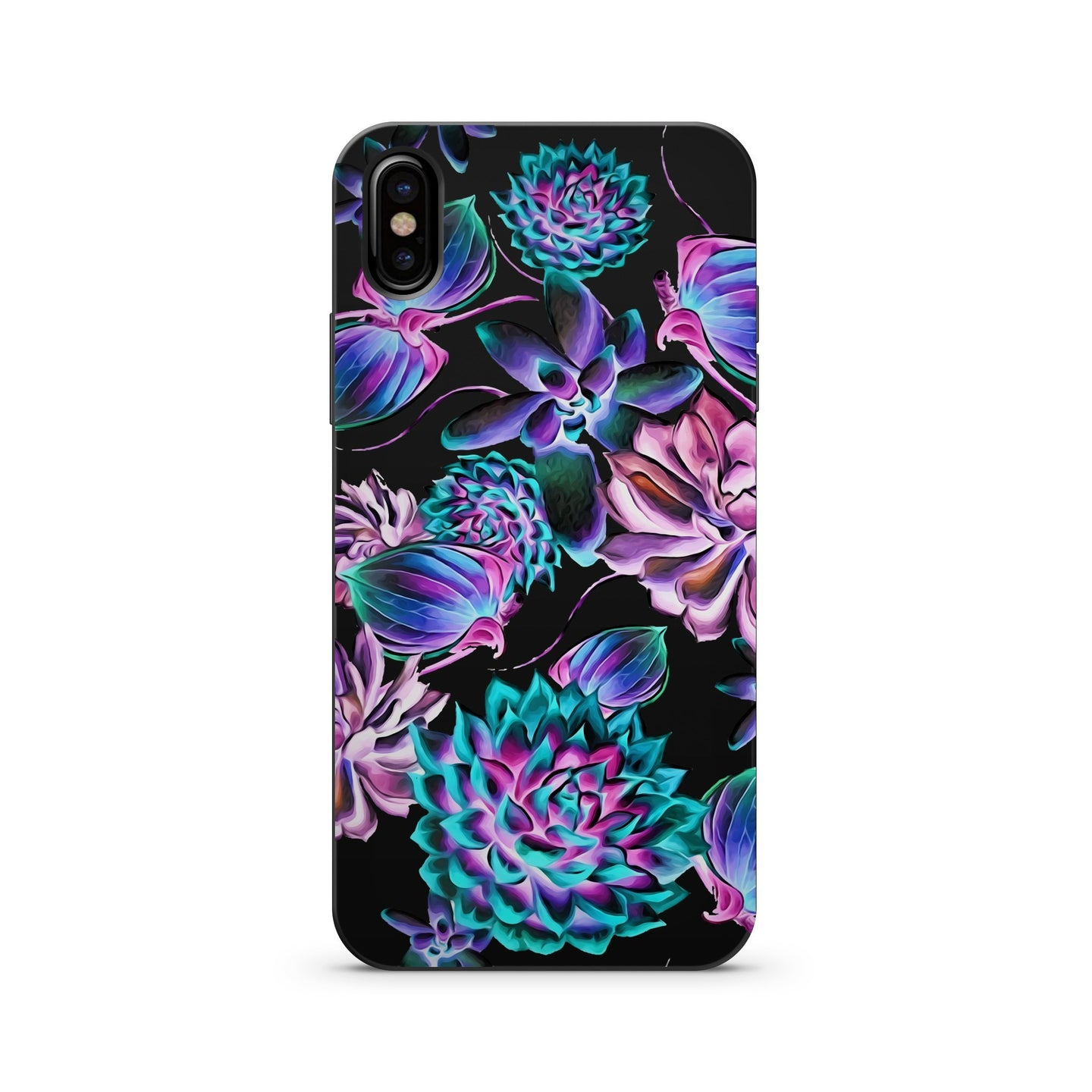 Black Wood Printed iPhone Case / Samsung Case Phone Cover - Montrose Succulent