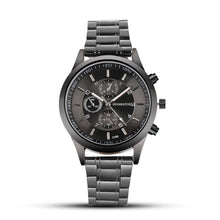 New Men Fashion Stainless Steel Round Analog Quartz Complete Schedule Wrist 30m 15mm Watch Bracelet Bangle