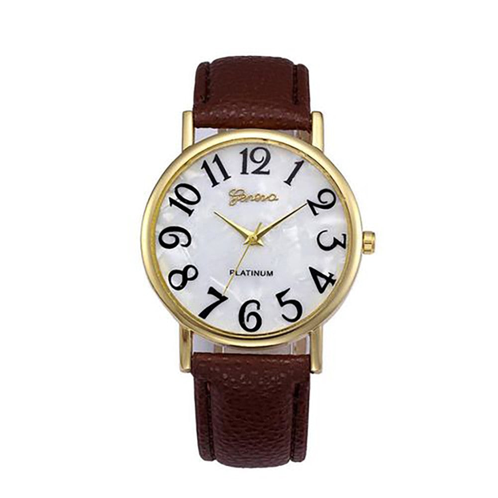 Casual Design Wristwatch, Big Number Dial Leather Strap Watch for Men Women, Quartz Women's Watch