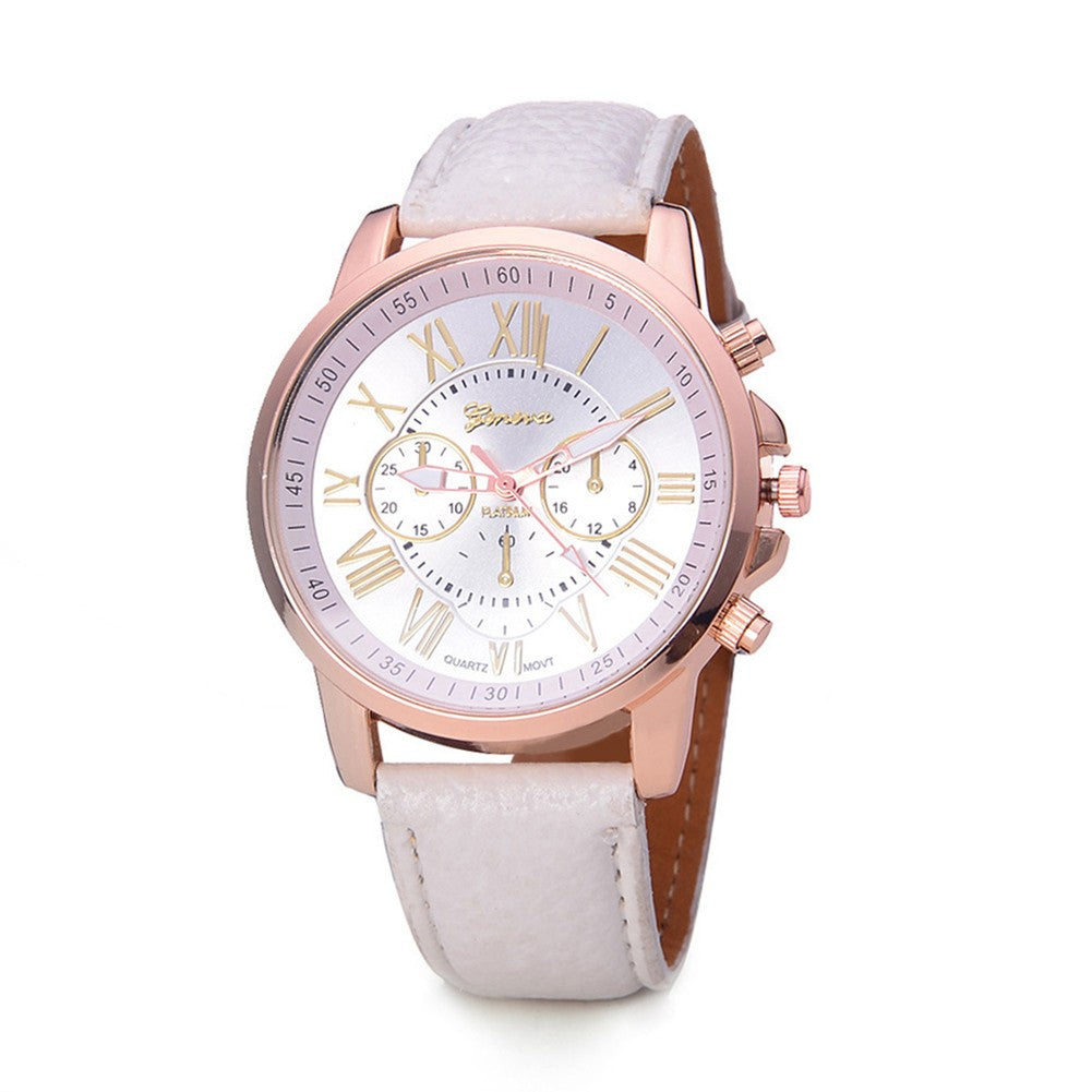 Top Brand Geneva Brand Watches, Women Casual Roman Numeral Watch For Women PU Leather Quartz Wrist Watch Relogio Gold Clock, Watch for Women