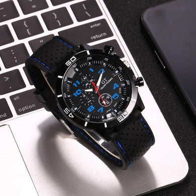 Men's Sports Silicone Strap Wrist Watches Mens Top Brand Black Dial Quartz Analog Watch Male Clock Life Waterproof inner shadow