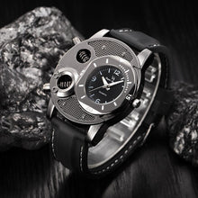 Mens Military Quartz Wrist Watch Silicone Strap Big Face Time Zone Analog Display Compass Thermometer Decorative Dial Sport