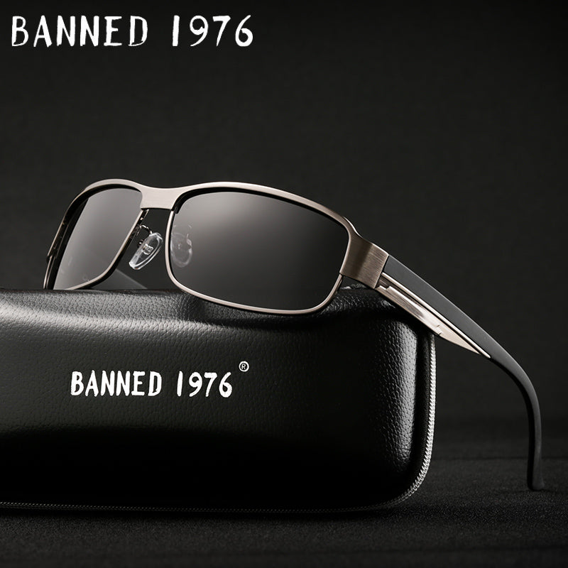2018 Banned 1976 Black / Polarized Anti-Reflective Sunglasses (Gold / Rose Gold Frames) - Frames Are Forever