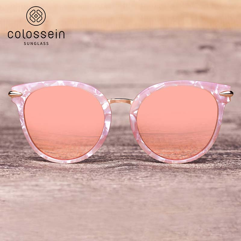 "COLOSSEIN Women's ""Pink Marble"" Cat Eye Sunglasses"