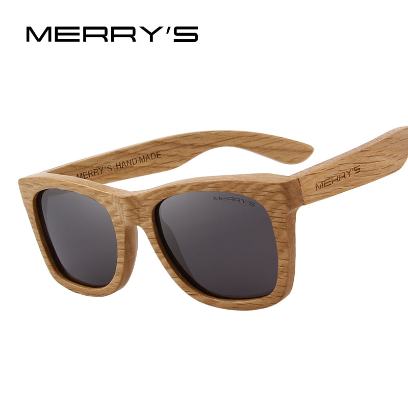 "MERRY'S Men's Wooden ""Coffee With Creme"" Sunglasses (Black / Polarized Lenses)"
