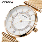 SINOBI Super Slim Designer Gold Mesh Stainless Steel Watch - Frames Are Forever