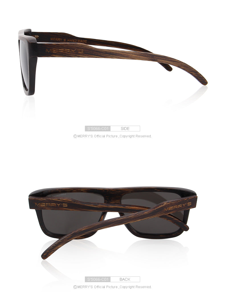 "MERRY'S Men's Wooden ""Coffee"" Hand Made Sunglasses"