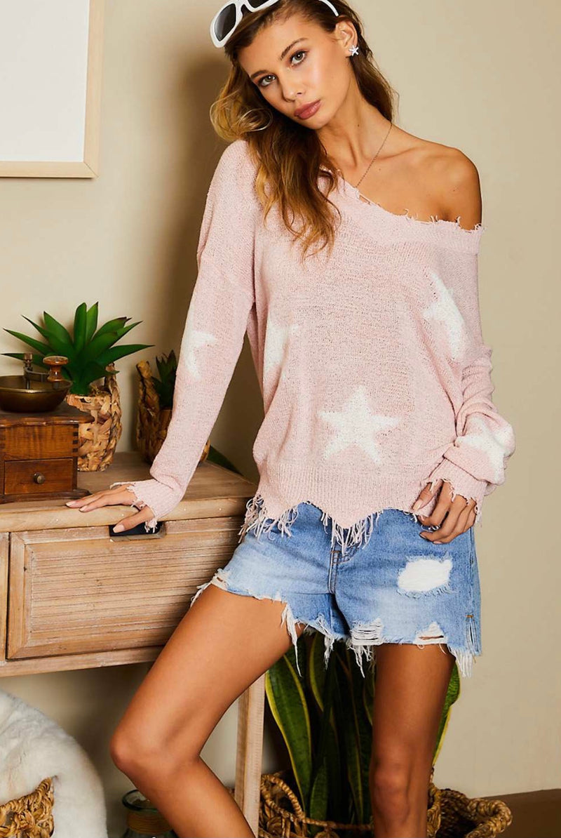 Star Wishes Distressed Pink Sweater