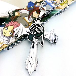 Fairy Tail - Guild Marks Silver Cross Wing Necklace - Aniflux