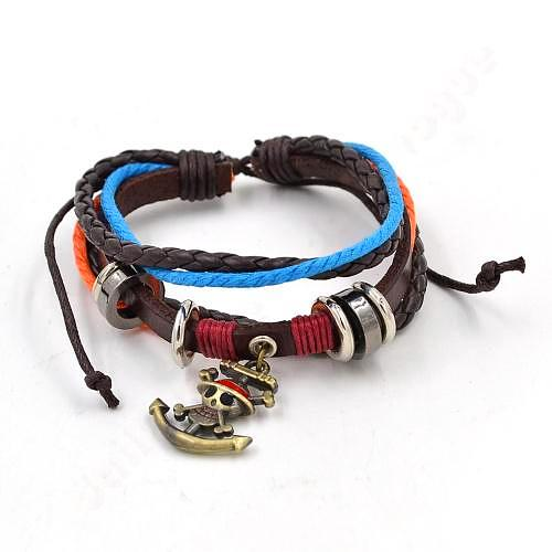 One Piece - Straw Hat Pirates Leather Bracelet - Aniflux