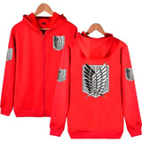 New Arrival 2017 Attack On Titan Zipper Hoodies Brand Clothing Hip Hop Hooded Sweatshirt Casual Loose Unisex Hoodie 5 Colors - Aniflux