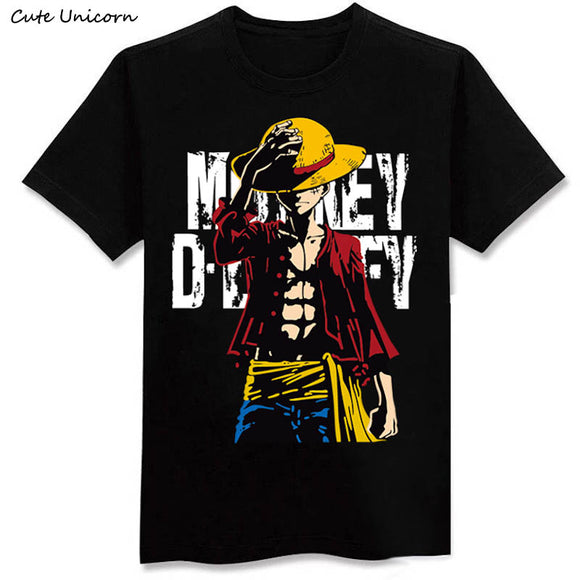 Cute Unicorn One Piece Luffy T shirt casual cotton tshirt homme O neck streetwear man t-shirt boys clothes anime summer top tees - Aniflux