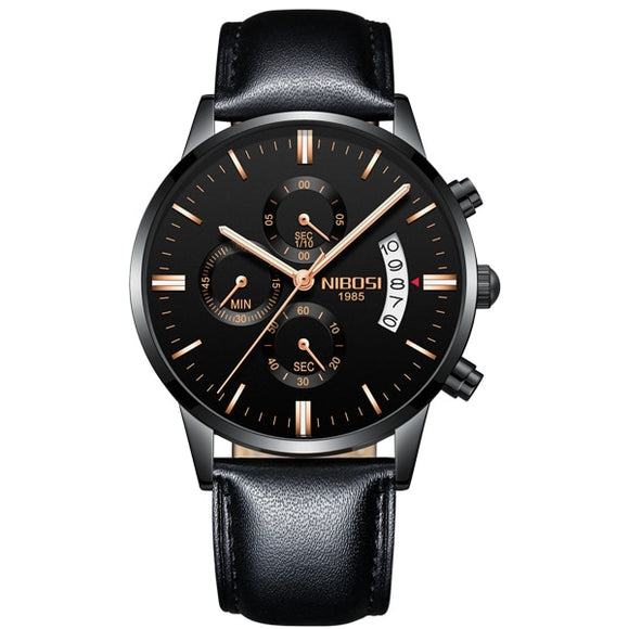 NIBOSI - Luxury Leather Strap Watches - Aniflux