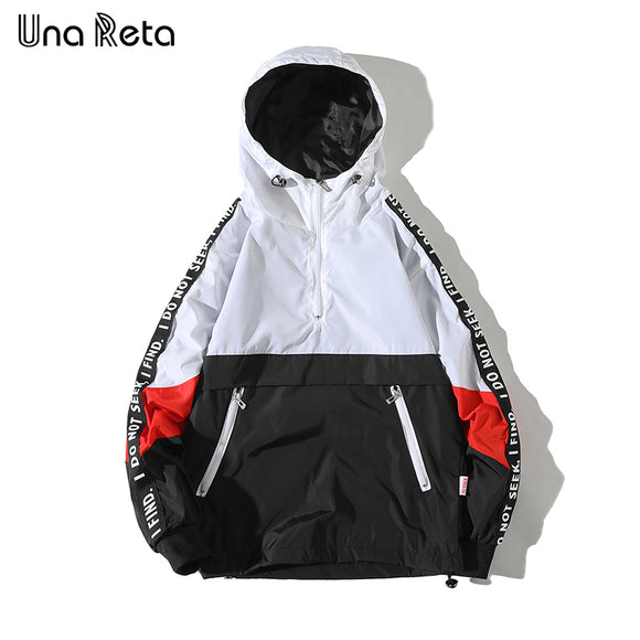 Una Reta Hooded Jackets Men 2018 New Patchwork Color Block Pullover Jacket Fashion Tracksuit Casual Coat Men Hip Hop Streetwear - Aniflux