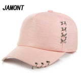 Women Sun Hat Baseball Cap White Pink Summer Outdoor Sunscreen Caps Couple Men Iron Ring Hats Snapback Hats - Aniflux