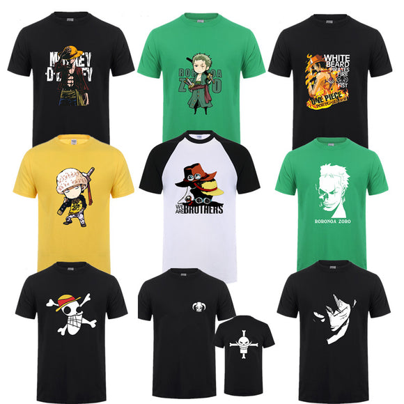 Summer One Piece T Shirt Men Monkey D Luffy T Shirts New Short Sleeve Cotton Anime Zoro Ace Law T-shirt Tee - Aniflux