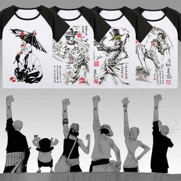 One Piece T-shirt Japan Anime Roronoa Zoro Luffy Cosplay ink painting T Shirts Tops New Summer raglan Short Sleeve Tees - Aniflux
