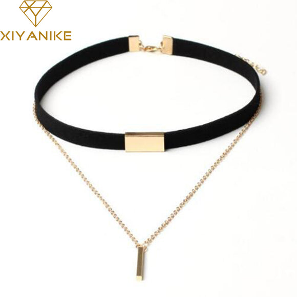 XIYANIKE New Black Velvet Choker Necklace Gold Chain Bar Chokers Necklace For Women collares mujer collier ras du cou N664 - Aniflux