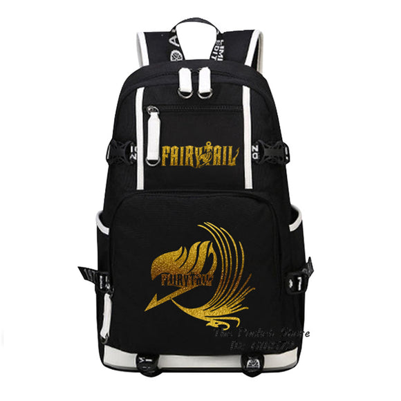 Fairy Tail  Gold & Luminous Logo Natsu Bookbag - Aniflux