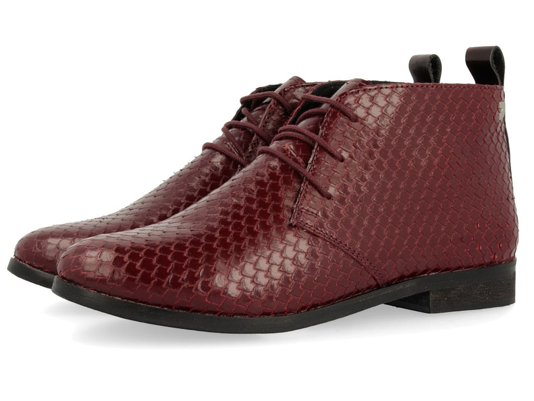 Gioseppo Louise Burgundy Laced Ankle Shoe
