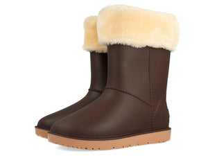 Gioseppo Faux Fur lined Chocolate Gumboot