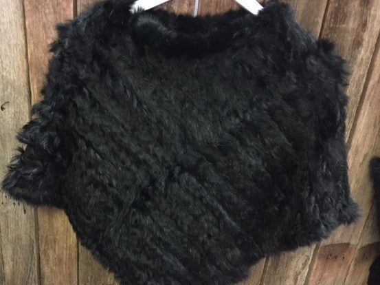 Rabbit Fur Poncho available in 6 colours