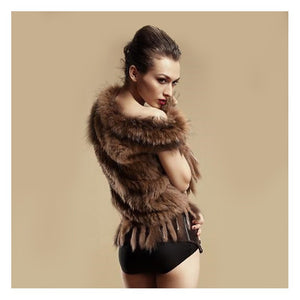 Tassled Rabbit and Racoon Fur Vest