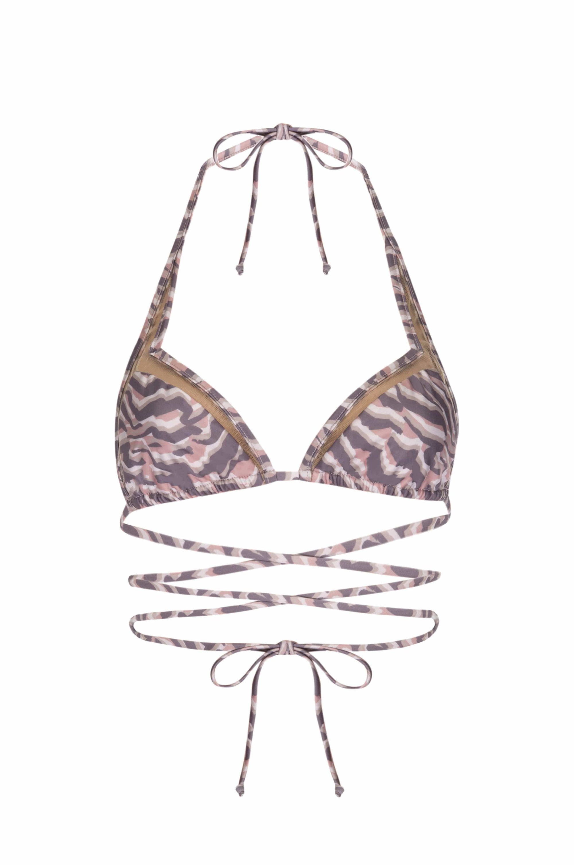 MAI MIA Bikini Top S / ZEBRA WISTERIA CUT OUT STRING KINI TOP - ZEBRA WISTERIA