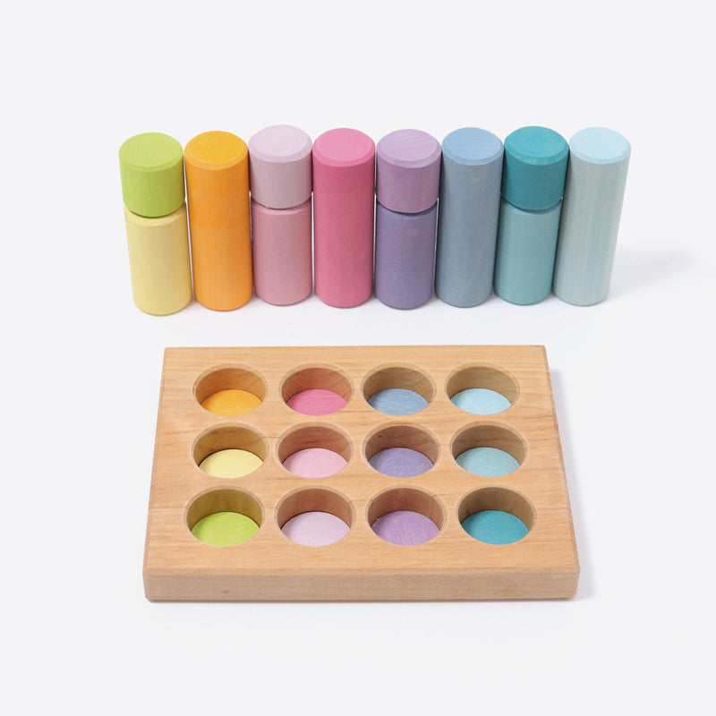 Grimm's - Stacking Game Small Pastel Rollers - KEKA TOYS