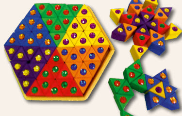 Coloured Sparkling Stone Triangles (54 Pieces), Bauspiel, KEKA TOYS