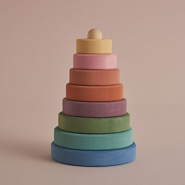 Pastel Earth Stacking Tower, Raduga Grez, KEKA TOYS, [HANDMADE], [WOODEN TOYS]