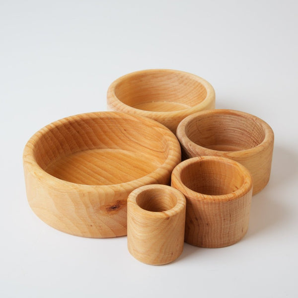 Set of Bowls Natural, Grimm's, KEKA TOYS, [HANDMADE], [WOODEN TOYS]
